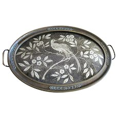 Art Deco Metallic Brocade & Bronzed Gesso Tray, Bird of Paradise