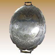 Highly Engraved Edwardian Silver Plated Serving Tray with Wooden Handles