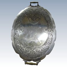 FINAL MARKDOWN, Highly Engraved Edwardian Silver Plated Serving Tray with Wooden Handles