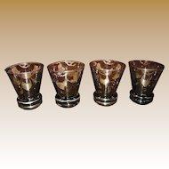Set of 4 Victorian Venetian Sterling Overlay Liquor Glasses