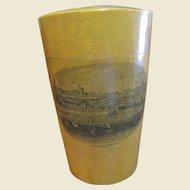 Victorian Mauchline Ware Glass Holder with Original Hand Blown Glass