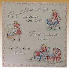 Vintage 1943 Unused New Baby Congratulations Card