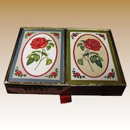 """Vintage Congress Playing Cards """"Red Rose"""" Double Deck"""