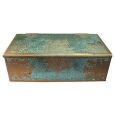 Vintage Etched Brass & Enamel Moorish Cigarette Box by Grammes Inc