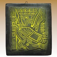 Hand Carved Soapstone Inca King Plaque