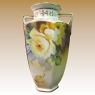 Circa 1911 Hand Painted Morimura Nippon Yellow Rose Vase