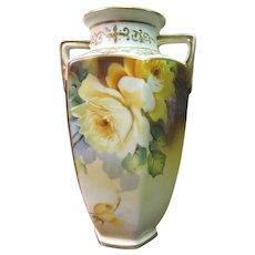 Circa 1911 Hand Painted Morimura Nippon Yellow Rose Vase