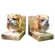 Mid Century Pair of Dog Head Ceramic Bookends, Life Like Details!