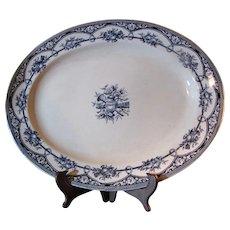"Beautiful Large 16"" Early Staffordshire Blue Transferware Platter"