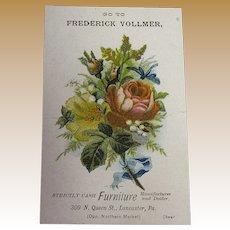 1900's Pink Rose Bouquet Frederick Vollmer, Furniture Manufacturer and Dealer Trade Card