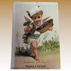 Antique Trade Card circa 1900 - Compliments of the Season! Shaub & Burns