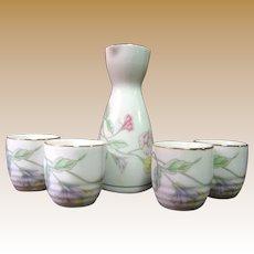 Japanese Porcelain Floral Sake Set with 4 Cups