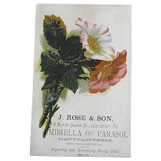 Antique Pink & White Flower Bouquet J. Rose & Son Umbrella and Parasol Manufacturer and Retail Trade Card