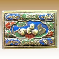 Beautiful Oriental Enameled Brass Match Holder