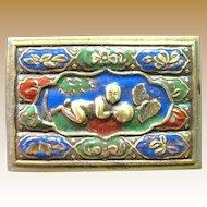Beautiful Oriental Enameled Brass Match Holder