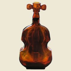 "Vintage Dark Amber Bottle, Figural Violin, 8"" Tall"