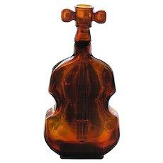 """Vintage Dark Amber Bottle, Figural Violin, 8"""" Tall"""