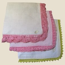 Three Vintage Hankies with Hand Crochet Lace Borders