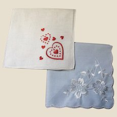 VALENTINES Embroidered Hankies, One Hearts, One Flowers!