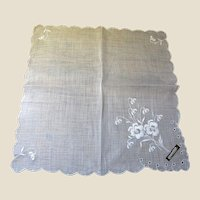 The Finest Swiss Batiste Wedding Hankie, Still with Original Label