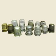 14 Vintage Metal Thimbles, 1 Mexican Sterling, Plus British, German, Taiwanese & Others