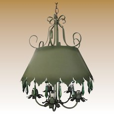 Mid Century Bouillotte Chandelier, Elegant Green Tole with Drippy Prisms by Lightcraft C.A.