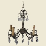 Elegant Small Ornately Cast Brass Chandelier, Drippy Prisms