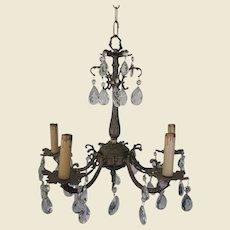 Elegant Small Ornately Cast Brass Chandelier, Drippy Prisms