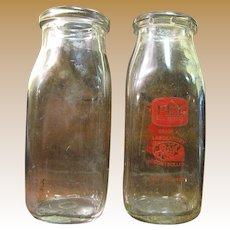 Two Square 1/2 Pint Milk Bottles Circa 1950's