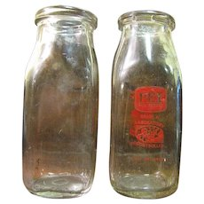 Two Square 1/2 Pint Milk Bottles Circa 1950's‏