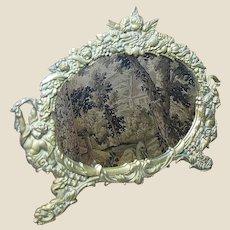 Romantic Victorian Revival Gilt Cast Iron Boudoir Mirror with Kissing Cherubs!