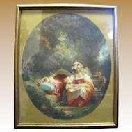 Vintage Pastoral French Style Print of Lady with Children
