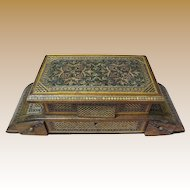 Ornate Antique Tunbridge Marquetry Inlaid Music Box, Padded Silk Lining!