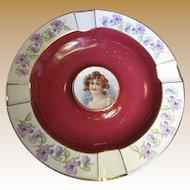 Cico Bavarian Porcelain Portrait Ashtray, Maroon with Gold Trim & Violet Flowers (No 1)