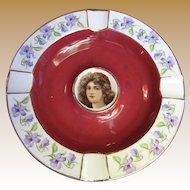 Cico Bavarian Porcelain Portrait Ashtray, Maroon with Gold Trim & Violet Flowers (No 2)