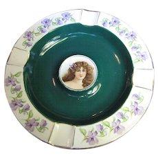 Cico Bavarian Porcelain Portrait Ashtray, Green with Gold Trim & Violet Flowers (No 2)