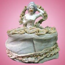 Vintage Porcelain Half Doll Vanity Powder Box, Great Dress
