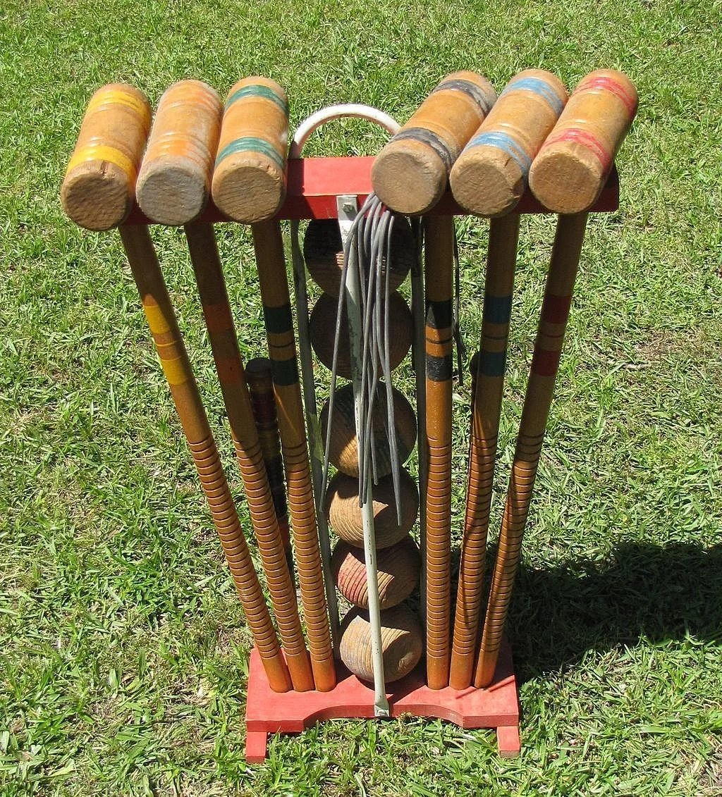 Nice Vintage Wooden Croquet Set For 6 With Stand Click To Expand