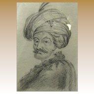 19th Century Orientalist Pencil Portrait of Gentleman with Turban