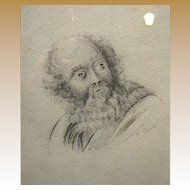19th Century Pencil Portrait of a Gentleman in the Renaissance Style