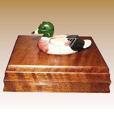 Vintage Mallard Duck Wooden Playing Card Box and 2 Decks of Duck Cards