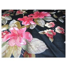 Sophisticated 2 Yard Remnant of Elegant Floral Satinized Cotton Fabric