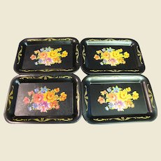FOUR Vintage Miniature Tole Floral Doll Trays