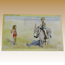 "Cute 1941 Children on the Beach Post Card ""Hitch-Hiking on the Beach"""