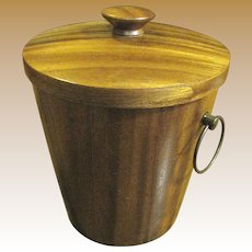 Mid Century Modern Danish Wood and Brass Ice Bucket