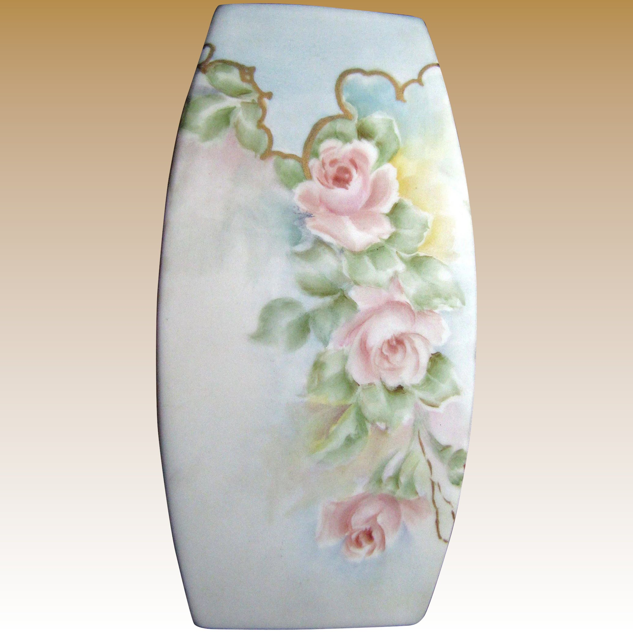 Delicate Vintage Bisque Vase Hand Painted Roses Fay