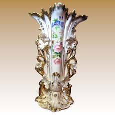 """17 1/2"""" Old Paris Porcelain Vase, Lavish Gilding, Hand Painted Flowers"""