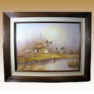 1960's Tonalist Oil on Canvas, Rural Scene with Flying Wild Ducks, Signed Ambrose