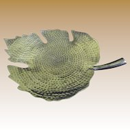 "Huge 16"" Hammered Aluminium Three Footed Leaf Design Serving Dish"