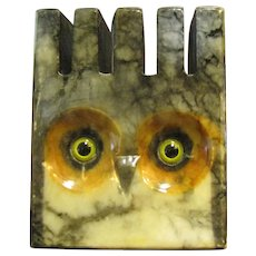 Italian Cut Marble Coaster Holder in the Form of an Owl